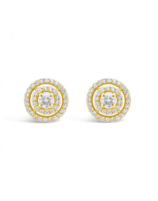 3 Row Diamond Pave Set Earrings In 18ct Yellow Gold. Tdw 0.80ct