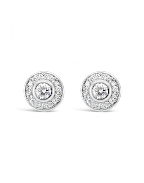Round Halo Set Diamond Earrings, in 18ct White Gold. Tdw 1.0ct