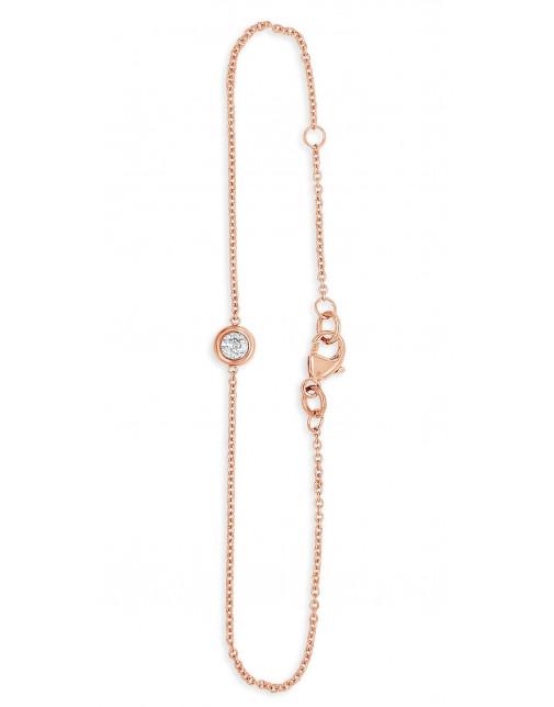 Ladies 9ct Rose Gold 0.18ct Rubover Bracelet
