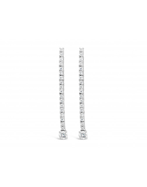 Diamond Drop Earrings Set In 18ct White Gold Set With 38 Round Brilliant Cut Diamonds