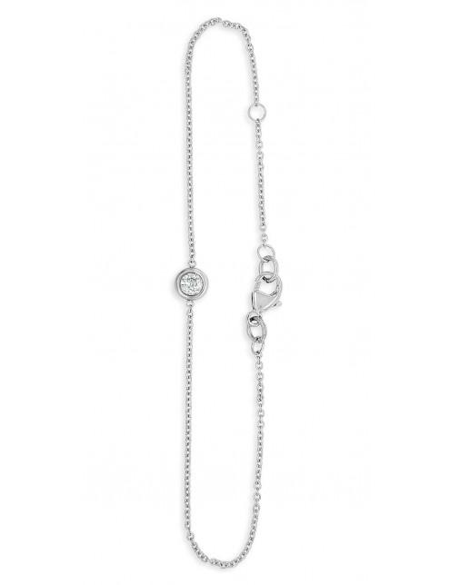 Ladies 9ct White Gold 0.25ct Rubover Bracelet