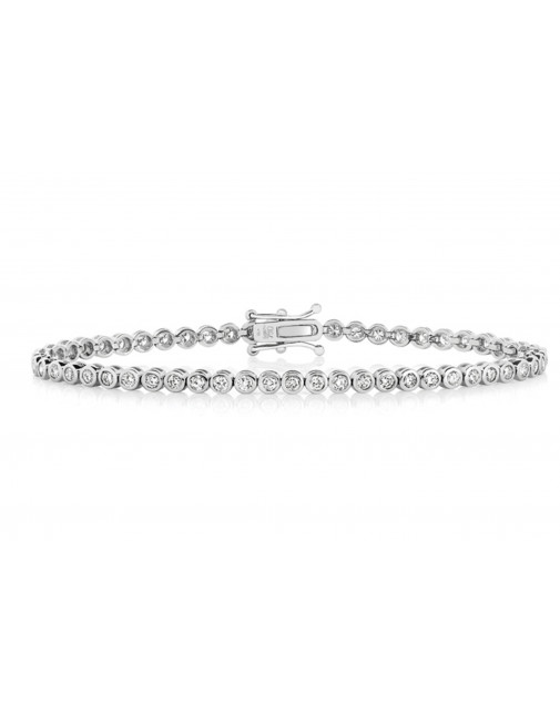 3.50ct Rubover Set Diamond Tennis Bracelet In 18ct White Gold