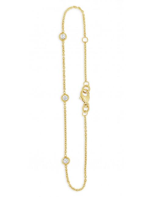 Ladies 18ct Yellow Gold 0.18ct Rubover Bracelet