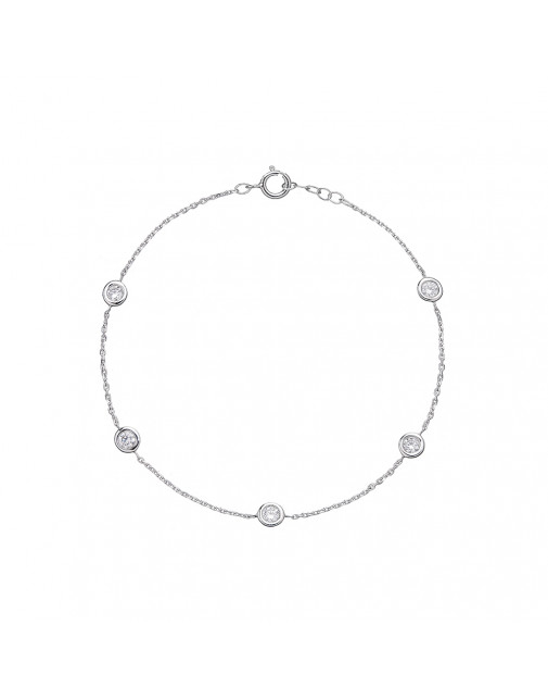 Ladies 5 Stone Diamond Bezel Set Bracelet in 18ct White Gold