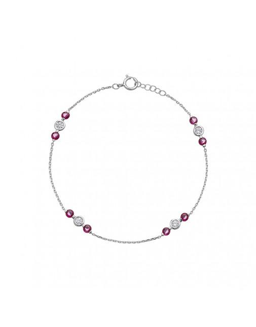 Ladies Ruby & Diamond Bracelet in 18ct White Gold