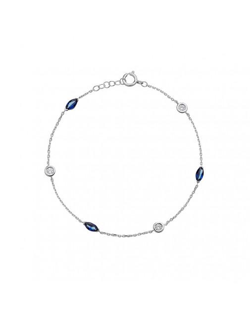 Ladies Sapphires & Diamond Bracelet in 18ct White Gold