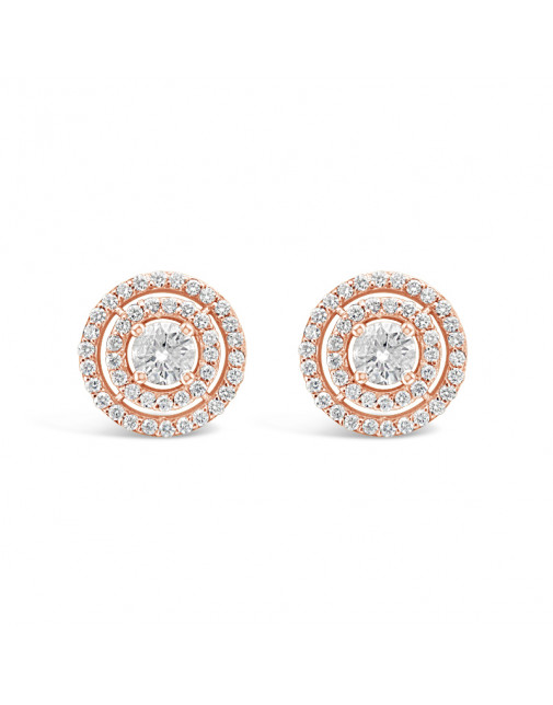 3 Row Diamond Pave Set Earrings In 18ct Rose Gold. Tdw 1.10ct
