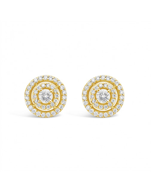 3 Row Diamond Pave Set Earrings In 18ct Yellow Gold. Tdw 0.70ct
