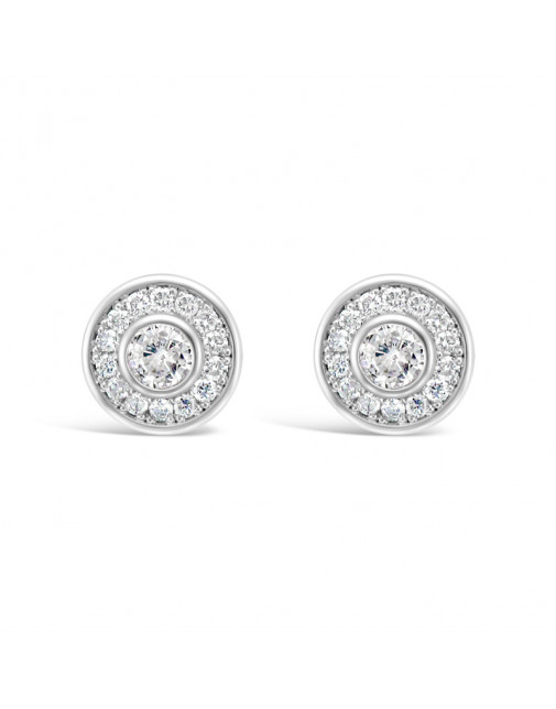 Round Halo Settings Diamond Earrings, in 18ct White Gold. Tdw 0.40ct