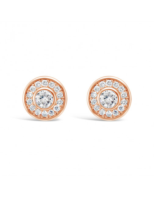 Round Halo Settings Diamond Earrings, in 18ct Rose Gold. Tdw 0.45ct