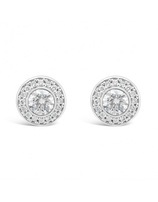 Round Halo Set Diamond Earrings, in 18ct White Gold. Tdw 1.30ct