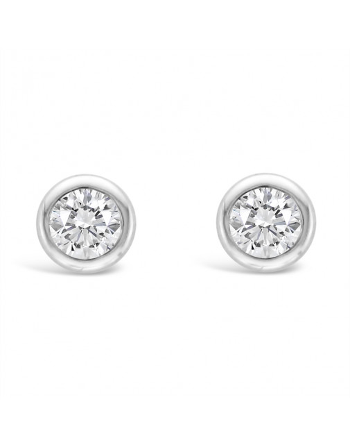 Round Rub-Over Set Solitaire Diamond Earrings, Set in 18ct White Gold. Tdw 0.20ct