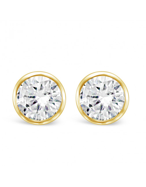 Round Rub-Over Set Solitaire Diamond Earrings, Set in 18ct Yellow Gold. Tdw 1.0ct