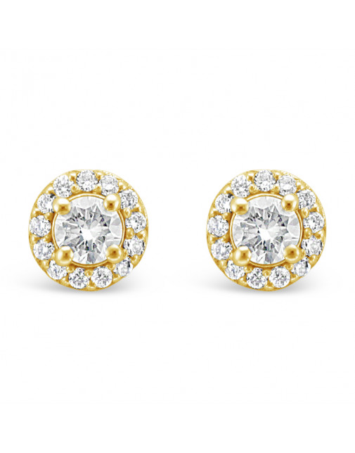 Diamond Cluster Earrings With A Centre Round Brilliant Cut Diamond Set in 18ct Yellow Gold. Tdw 0.75ct