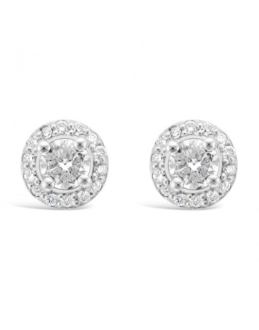 Diamond Cluster Earrings With A Centre Round Brilliant Cut Diamond Set in 18ct White Gold. Tdw 1.25ct