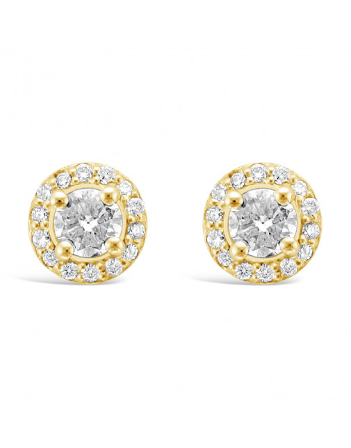 Diamond Cluster Earrings With A Centre Round Brilliant Cut Diamond Set in 18ct Yellow Gold. Tdw 0.95ct
