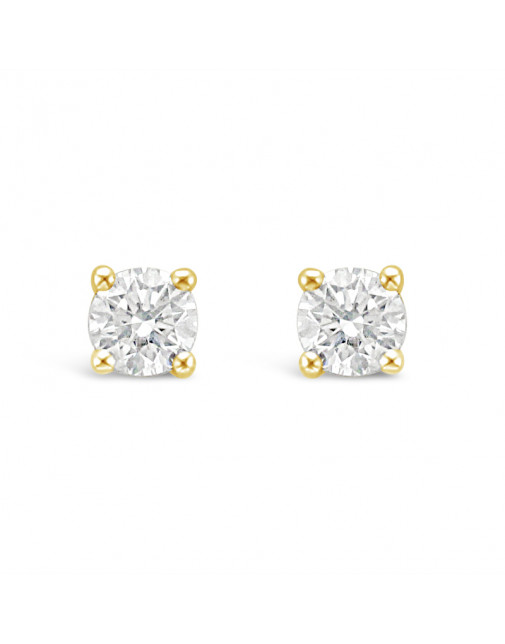 Classic 4 Claw Diamond Earrings in 18ct Yellow Gold. Tdw 0.40ct