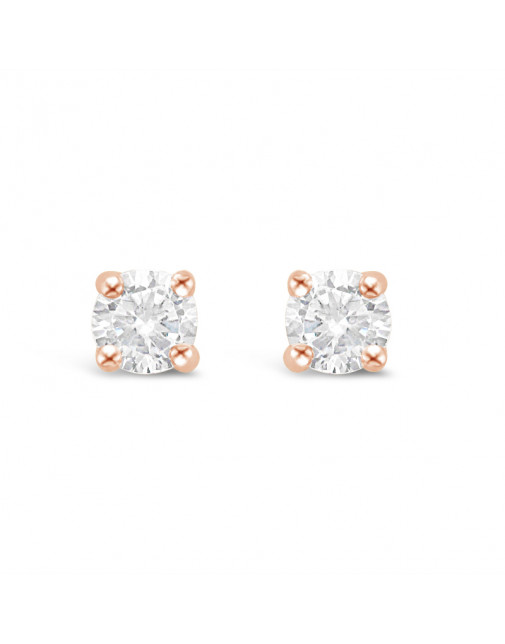 Classic 4 Claw Diamond Earrings in 18ct Rose Gold. Tdw 0.20ct