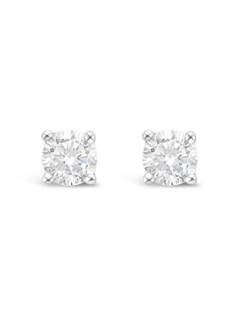 Classic 4 Claw Diamond Earrings in 18ct White Gold. Tdw 1.0ct