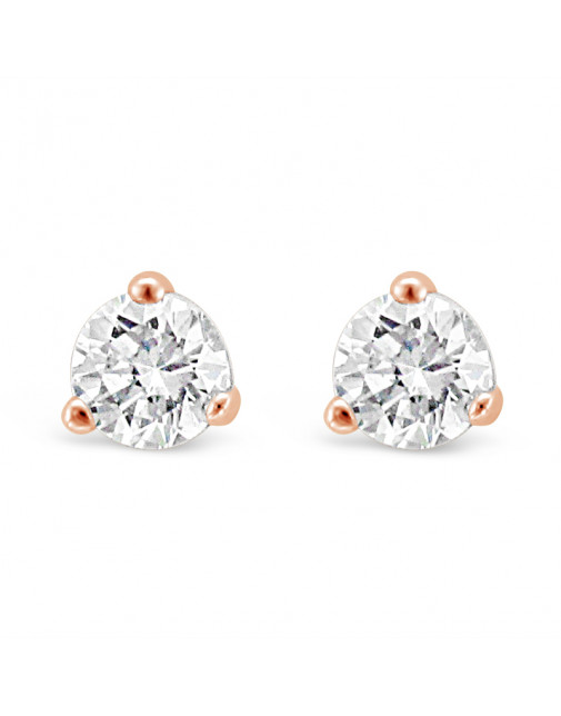 Solitaire Diamond Stud Earrings in a 3-Claw Setting, Set 18ct Rose Gold. Tdw 0.40ct