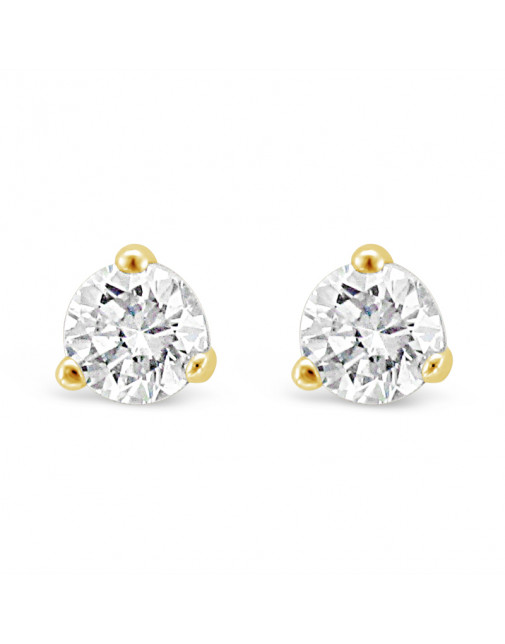 Solitaire Diamond Stud Earrings in a 3-Claw Setting, Set 18ct Yellow Gold. Tdw 0.40ct