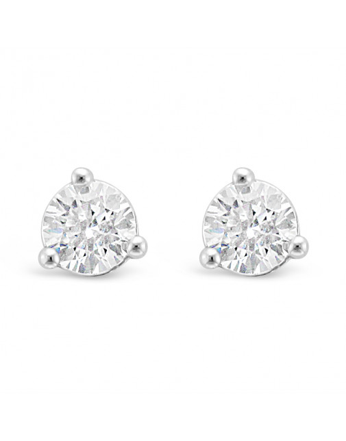 Solitaire Diamond Stud Earrings in a 3-Claw Setting, Set 18ct White Gold. Tdw 0.70ct