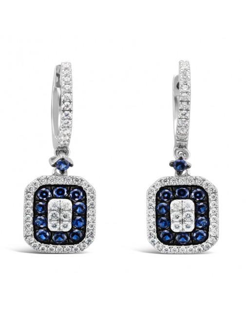 Diamond Pavee Hoops With Rectangle Shape Sapphire + Diamond Drop Earrings, Set in 18ct White Gold.