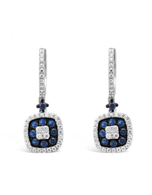Diamond Pavee Hoops With Cushion Shape Sapphire + Diamond Drop Earrings, Set in 18ct White Gold.