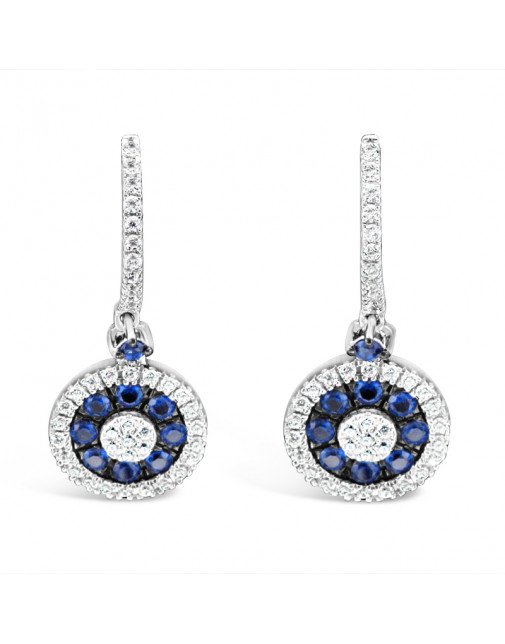Diamond Pavee Hoops With Round Shape Sapphire + Diamond Drop Earrings, Set in 18ct White Gold.