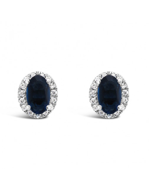 Oval Sapphire + Diamond Pavee Set Earrings, Set in 18ct White Gold.