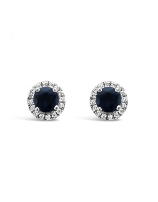 Round Sapphire + Diamond Pavee Set Earrings, Set in 18ct White Gold.