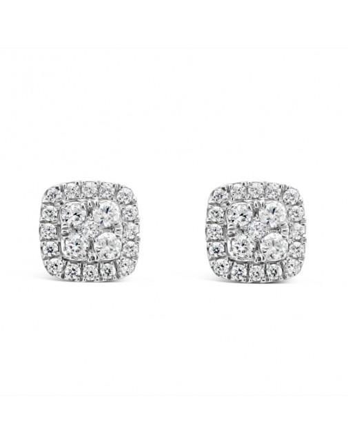 Cushion Shape Halo Diamond Earrings, Set in 18ct White Gold. Tdw 0.51ct