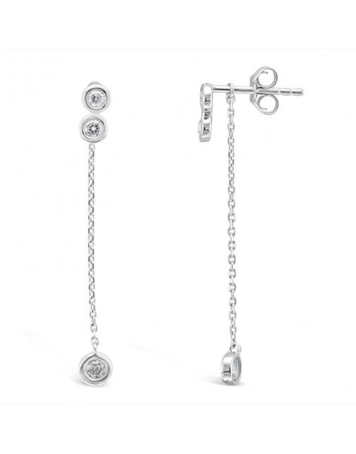 Double Rubover Stud Earrings With Detachable Rubover Diamond Chain Drops, Set in 18ct White Gold. Tdw 0.29ct
