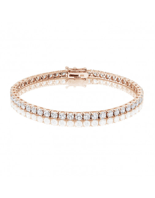 6.6ct Diamond Tennis Bracelet In 18ct Rose Gold