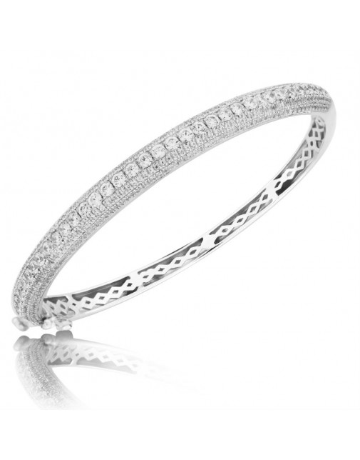 2.37ct Fine Quality Channel set and Pave Diamond Oval Hinged Bangle in 18ct White Gold