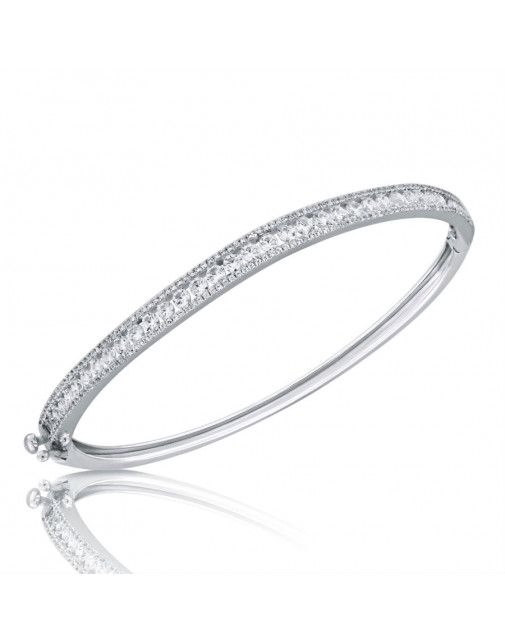 1.74ct Fine Quality Channel set and Pave Diamond Oval Hinged Bangle in 9ct White Gold