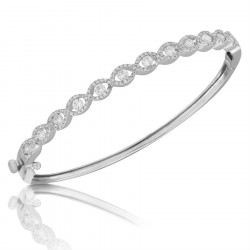 Fine Quality S-Shape Pave Bangle with a Round Diamond in each Section in 9ct White Gold