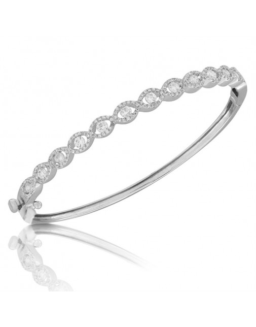 Fine Quality S-Shape Pave Bangle with a Round Diamond in each Section in 18ct White Gold