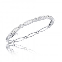 Fine Quality Marquise and Round Design Pave Bangle with a Round Diamond in each Section in 9ct White Gold