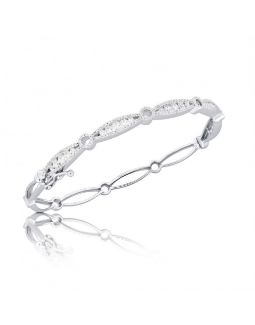 Fine Quality Marquise and Round Design Pave Bangle with a Round Diamond in each Section in 18ct White Gold