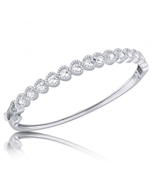 Fine Quality Heart Shape Design Pave Bangle with a Round Diamond in each Section in 9ct White Gold
