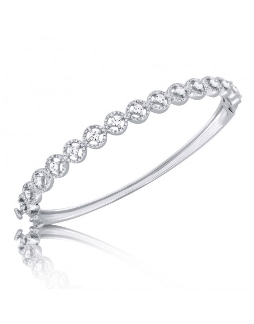 Fine Quality Circle Design Pave Bangle with a Round Diamond in each Section in 9ct White Gold