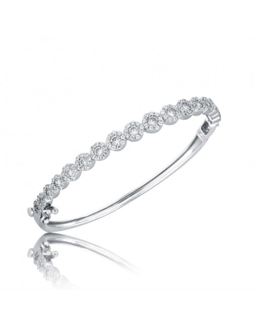 Fine Quality Cluster Design Pave Bangle with a Round Diamond in each Section in 9ct White Gold