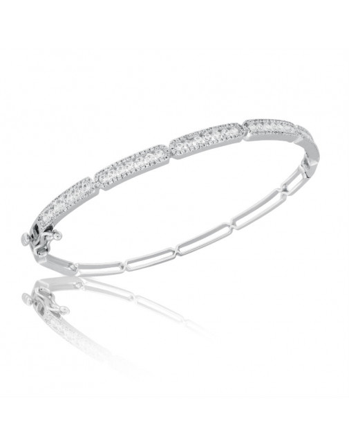 Fine Quality 5 Section Channel Set Design Pave Bangle with a Round Diamond in each Section in 9ct White Gold
