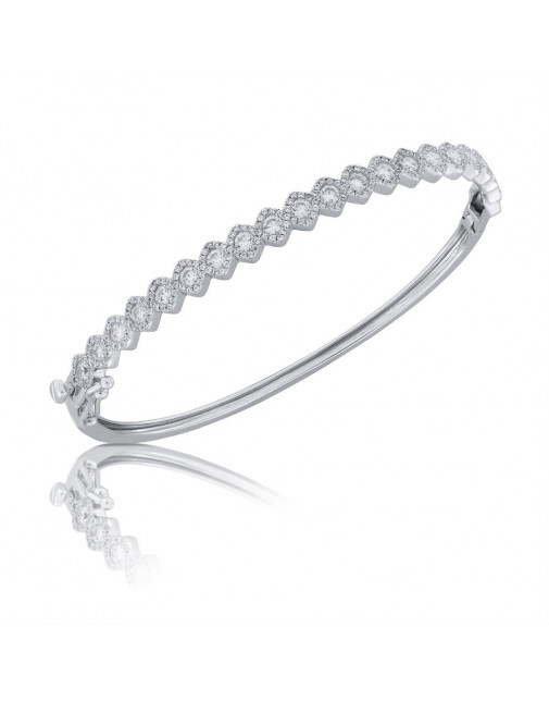 Fine Quality Square Shape Design Pave Bangle with a Round Diamond in each Section in 9ct White Gold
