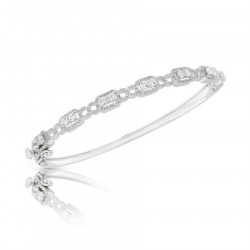 Fine Quality Fancy Design Pave Bangle with a Round Diamond in each Section in 9ct White Gold