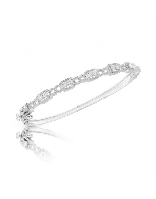 Fine Quality Fancy Design Pave Bangle with a Round Diamond in each Section in 18ct White Gold
