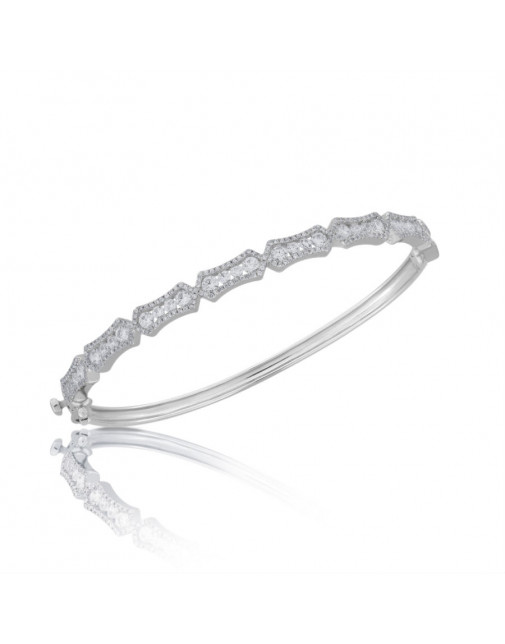 Fine Quality 7 Section Fancy Design Pave Bangle with a Round Diamond in each Section in 9ct White Gold