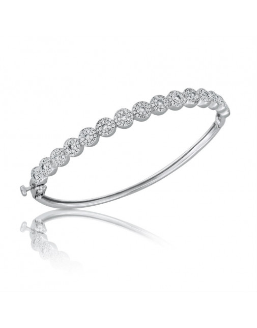 Fine Quality 3 Row Cluster Design Pave Bangle with a Round Diamond in each Section in 18ct White Gold