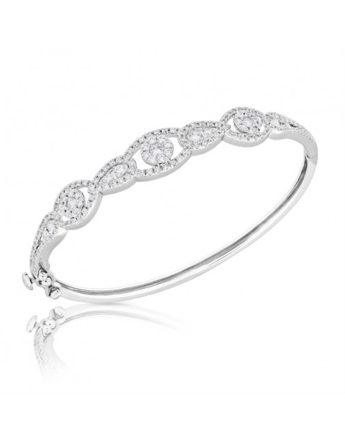 Fine Quality Pear and Oval Shape Design Pave Bangle with a Round Diamond in each Section in 9ct White Gold